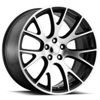 FACTORY REPRODUCTIONS WHEELS  DODGE HELLCAT STYLE 70 BLACK RIM with MACHINED FACE