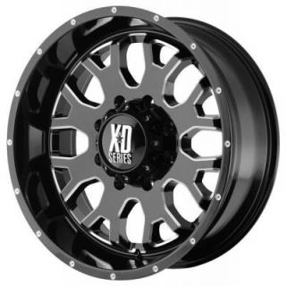SPECIAL BUY WHEELS  XD SERIES XD808 MENACE GLOSS BLACK RIM with MILLED ACCENTS PPT SET OF 5