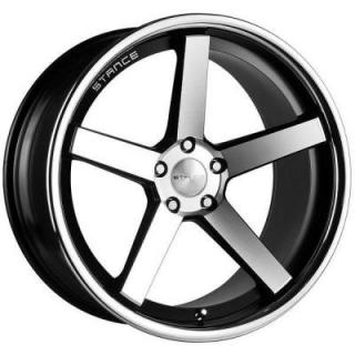 SPECIAL BUY WHEELS  STANCE SC-5IVE MATTE BLACK RIM with MACHINED FACE and SS LIP DISPLAY SET 1 SET ONLY - SOLD AS IS