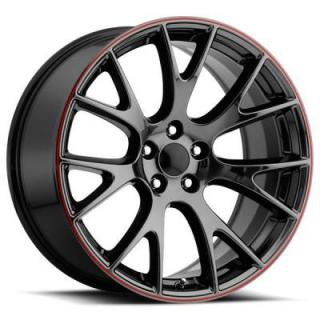FACTORY REPRODUCTIONS WHEELS  DODGE HELLCAT STYLE 70 PVD BLACK CHROME RIM with RED STRIPE