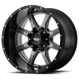 MOTO METAL WHEELS  MO970 GLOSS GREY CENTER RIM with GLOSS BLACK LIP