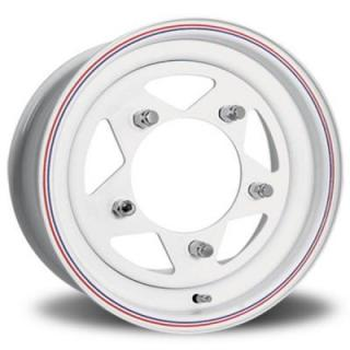 U.S. WHEEL  VW BAJA STAR 27 SERIES WHITE RIM with RED and BLUE PINSTRIPE