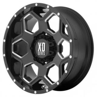 XD SERIES XD813 BATTALION GLOSS BLACK RIM with MILLED ACCENTS SET OF 5 JEEP by SPECIAL BUY WHEELS