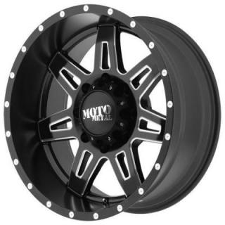 MOTO METAL MO975 SATIN BLACK RIM with MILLED ACCENTS PPT SET OF 5 JEEP by SPECIAL BUY WHEELS