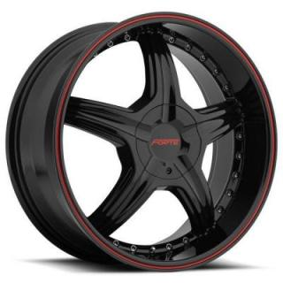 SPECIAL BUY WHEELS  FORTE F45 REDRUM BLACK RIM with RED STRIPE DISPLAY SET 1 SET ONLY - SOLD AS IS