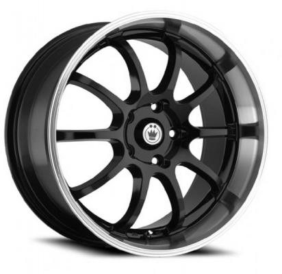KONIG WHEELS  LIGHTNING BLACK RIM with MACHINED LIP