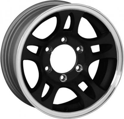 SENDEL WHEELS  T03 TRAILER BLACK RIM with MACHINED LIP