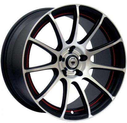 KONIG WHEELS  Z-IN MATTE BLACK RIM with MACHINED FACE with RED UNDERCUT