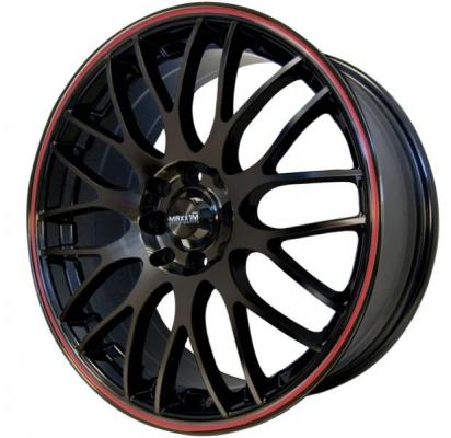 MAXXIM WHEELS  MAZE BLACK RIM with RED STRIPE