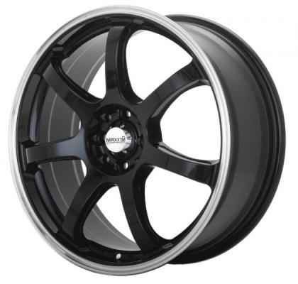 MAXXIM WHEELS  KNIGHT BLACK RIM with POLISHED LIP