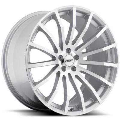 TSW WHEELS - OCT. SALE!  MALLORY 5 SILVER RIM with MIRROR CUT FACE