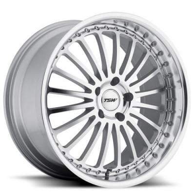 TSW WHEELS  SILVERSTONE SILVER RIM with MIRROR CUT FACE and LIP