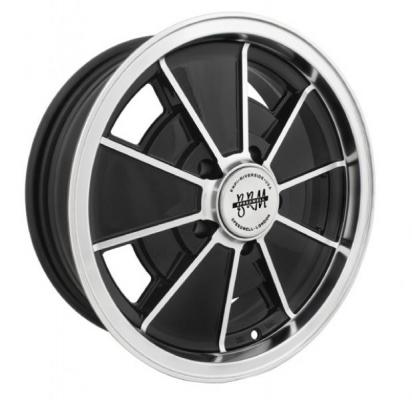 EMPI VINTAGE VW  BRM 5-LUG GLOSS BLACK RIM with POLISHED LIP and EDGES