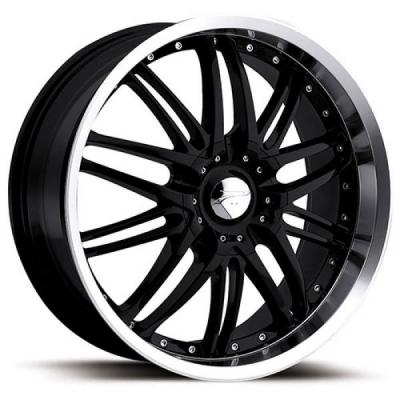PLATINUM WHEELS  APEX 200 GLOSS BLACK RIM with DIAMOND CUT LIP
