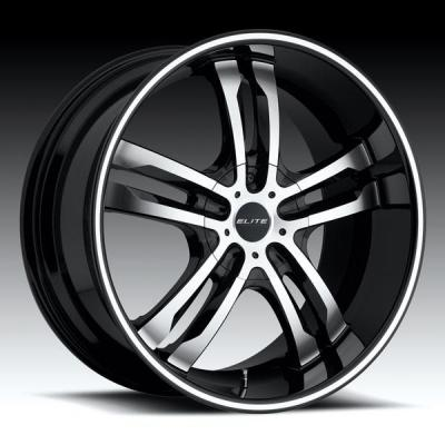 DUB WHEELS  PHASE 5 S105 BLACK RIM with MACHINED LIP GROOVE