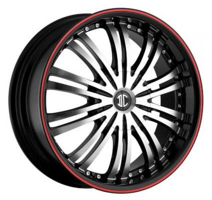 2 CRAVE WHEELS  FIERO N01 BLACK/RED STRIPE RIM