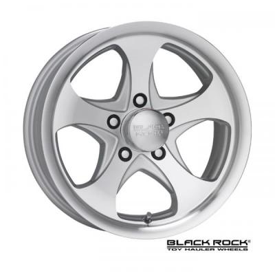 BLACK ROCK WHEELS  921MS INTREPID TOY HAULER MACHINED RIM with SILVER ACCENTS