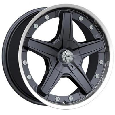 GFX WHEELS  SLEDGE HAMMER GLOSS BLACK RIM with MACHINED LIP