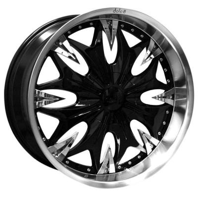DOLCE WHEELS  DC20 GLOSS BLACK RIM with CHROME INSERTS