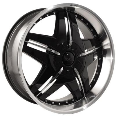 DOLCE WHEELS  DC24 GLOSS BLACK RIM with CHROME INSERTS