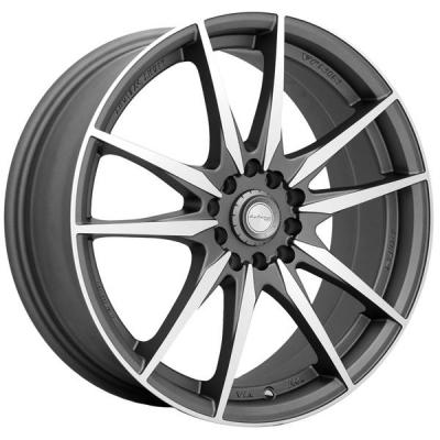 NINJA WHEELS  NJ07 DARK GRAY RIM with MACHINED FACE