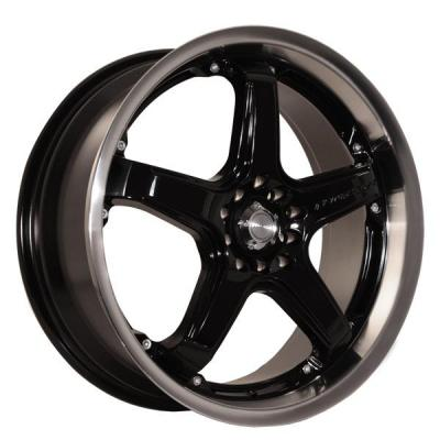 KATANA WHEELS  CR5 BLACK RIM with MACHINED LIP