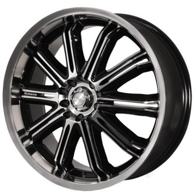 KATANA WHEELS  KR11 BLACK RIM with MACHINED FACE AND LIP