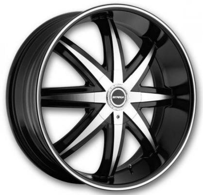 STRADA WHEELS  MAGIA BLACK RIM with MACHINED FACE