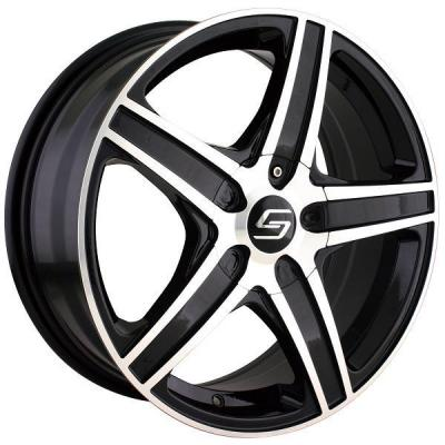 SACCHI WHEELS  S48 BLACK RIM with MACHINED FACE