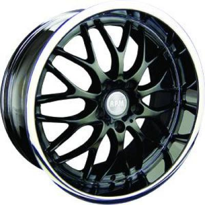 RPM WHEELS  R-505 BLACK RIM with MACHINED LIP