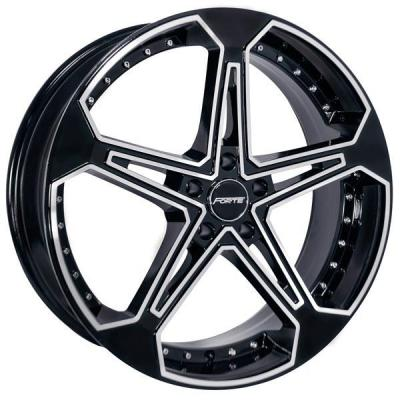 FORTE WHEELS  F62 JONES FIVE BLACK RIM with MIRROR FACE