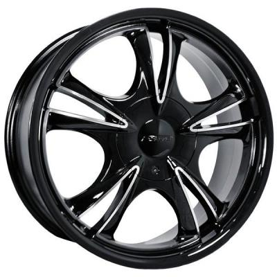 FORTE WHEELS - OCT. SALE!  F58 DARK FIVE BLACK RIM with MIRROR FACE