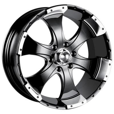 ION ALLOY WHEELS  TYPE 136 BLACK RIM with MACHINED LIP