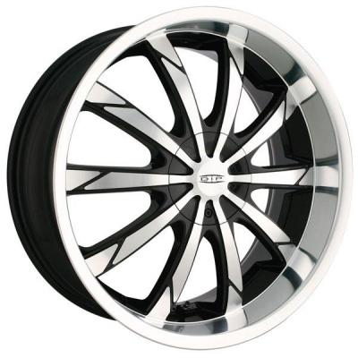 DIP WHEELS  SLACK D66 BLACK RIM with MACHINED FACE and LIP