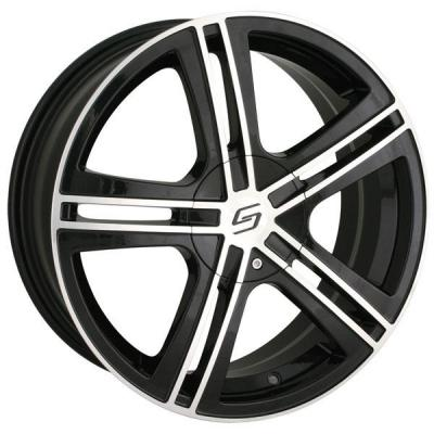 SACCHI WHEELS  S62 BLACK RIM with MACHINED FACE and LIP
