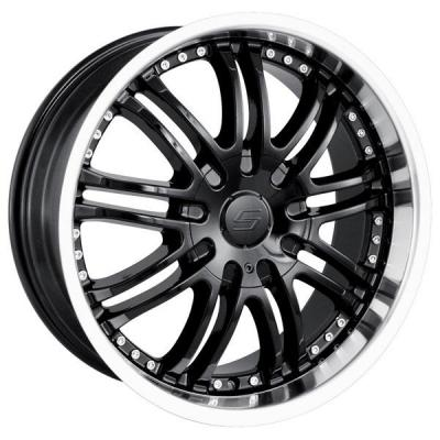 SACCHI WHEELS  S95 BLACK RIM with MACHINED LIP