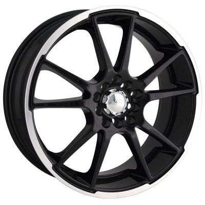 AKITA RACING WHEELS  AK35 BLACK RIM with MACHINED LIP