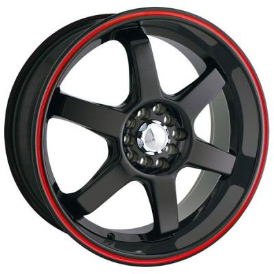 AKITA RACING WHEELS  AK55 BLACK RIM with RED RING