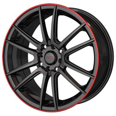 AKITA RACING WHEELS  AK77 BLACK/RED RING