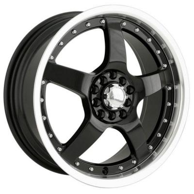 AKITA RACING WHEELS  AK8 BLACK RIM with MACHINED LIP