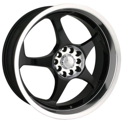 AKITA RACING WHEELS  AK90 BLACK RIM with MACHINED LIP and HUB