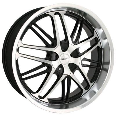 TOUREN WHEELS  TR7 BLACK RIM with MACHINED FACE and LIP