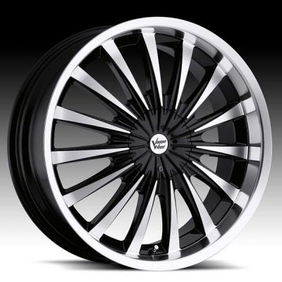 VISION WHEELS  SHATTERED 454 FWD GLOSS BLACK RIM with MACHINED FACE