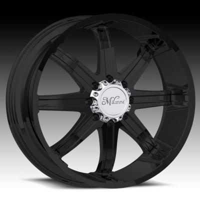 MILANNI WHEELS  KOOL WHIP-8 446 RWD MATTE BLACK RIM and CHROME CAP