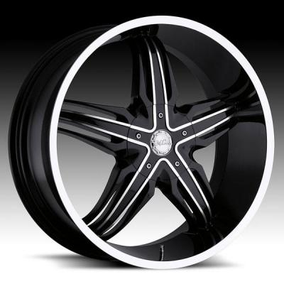 MILANNI WHEELS  PHOENIX 458 RWD GLOSS BLACK RIM with MACHINED FACE and LIP