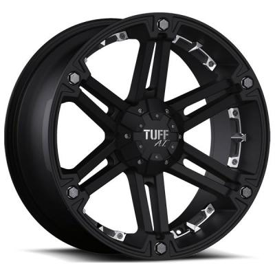 TUFF A.T. WHEELS  T01 FLAT BLACK WITh CHROME INSERTS