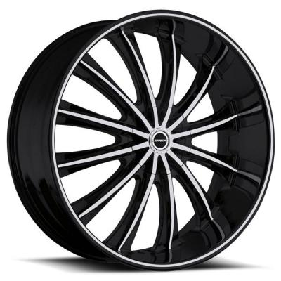 STRADA WHEELS  CORONA BLACK RIM with MACHINED ACCENTS