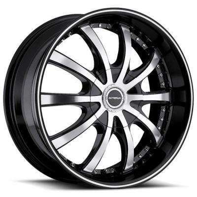 STRADA WHEELS  SOLE BLACK RIM with MACHINED FACE