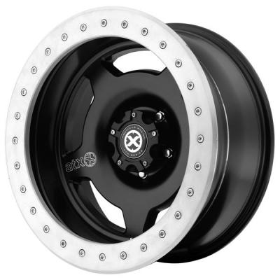 ATX SERIES WHEELS  AX756 SLAB SATIN BLACK RIM with MACHINED LIP