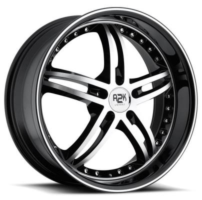 REV WHEELS  A2K 339 BLACK RIM with MACHINED FACE